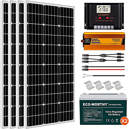 ECO-WORTHY 400W 24V Complete Solar Panel Kit with Battery and Inverter Off...