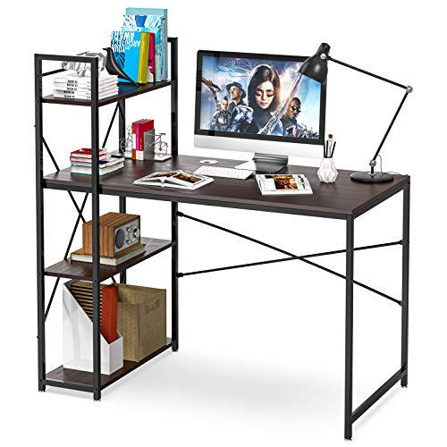 Computer Desk with Shelves, 47 Inch Writing Study Table Desk for Bedrooms, Modern Style PC Laptop Home Office Desk with Bookshelf (Brown-C)