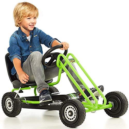 ドイツの名門ハウク・ペダル・ゴーカート<Hauck Lightning Pedal Go Kart>速く走れて機敏な操作頑丈なフレームしっかりグリップ・タイヤ 欧米の (Green)