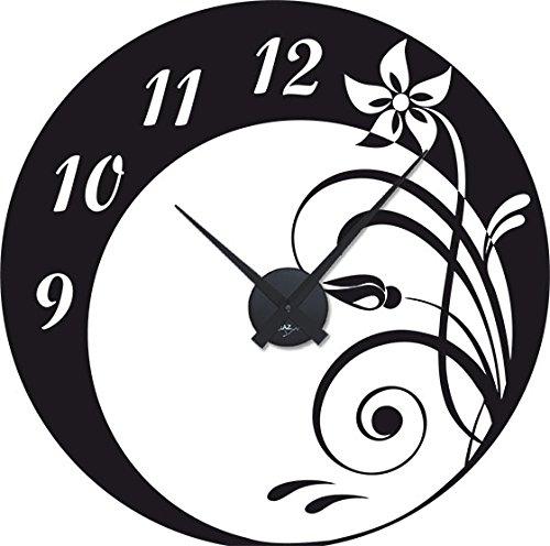 GRAZDesign 800191 Muurtattoo klok wandklok cirkel ontwerp met bloemen ornament | Keukenklok Uhrwerk schwarz 070, zwart