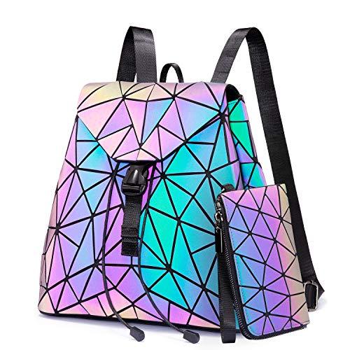 Geometrische leuchtende Geldbörsen und Handtaschen für Frauen, holografisch, reflektierend, Tasche, Rucksack, Geldbörse, Clutch-Set
