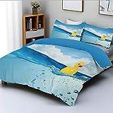 Juego de funda nórdica, juguete de patito nadando en estanque, piscina, mar, día soleado, flotando en el agua Juego de cama decorativo de 3 piezas con 2 fundas de almohada, azul y amarillo, el mejor r