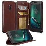 Motorola Moto G4 Play Case, Leather Wallet Case for Motorola Moto G4 Play, Snap Folio Flip Card Cover for Moto G 4th Gen (5 Inch)/Moto G Play XT1607 / XT1609, Brown
