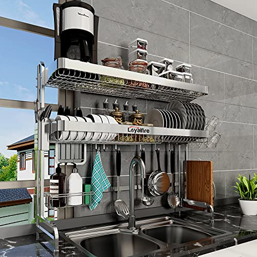 12- Loyalfire 2-Tier Adjustable Over Sink Dish Drying Rack, Stainless Steel