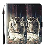vingarshern Hülle für TP-Link Neffos X20 Pro Handytasche Klappbares Magnetverschluss Lederhülle Flip Etui Standfunktion Schutzhülle Neffos X20 Pro Hülle Leder Brieftasche-(Tiger) MEHRWEG