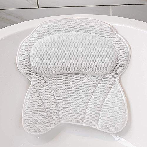 Hailong Spa Bath Pillow, Bathtub Pillow With 6 Suction Cups - Head/Neck/Back And Shoulder Support Bath Pillows For Hot Tub, Jacuzzi, Home Spa