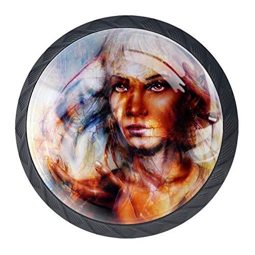 TIKISMILE Löwenkopf und mystische Frau Gesicht Collage Schubladenknopf Ziehgriff ergonomisch 35 mm Kristallglas Kreis Möbel Schrank Griff für Küche Kommode Schrank Kleiderschrank 4 Stück
