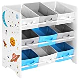 SONGMICS Children's <span class='highlight'>Storage</span> Shelf for Toys and Books, 9 Removable Non-Woven Fabric Boxes with Handles, for Children's Room, Playroom, Daycare, School, 62.5 x 29.5 x 60 cm, Space-Saving, White GKR33WT