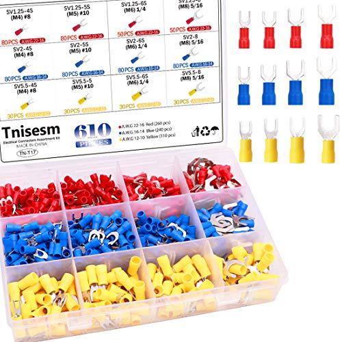 Tnisesm 610Pcs M4/M5/M6/M8 Fork Spade Quick Splice Crimp Terminals Insulated Automotive Wire Connectors Set TN-T17