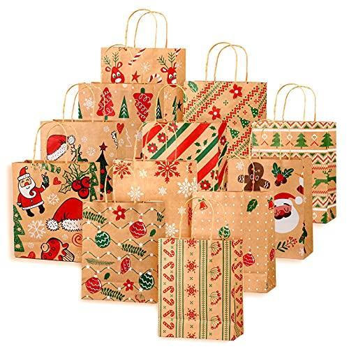 12 Pezzi Kraft Sacchetti Regalo di Natale con Manici, Sacchetti Riutilizzabili Xmas Goody per Matrimonio Regalo Compleanno Festa di Natalizia (12 pezzi)