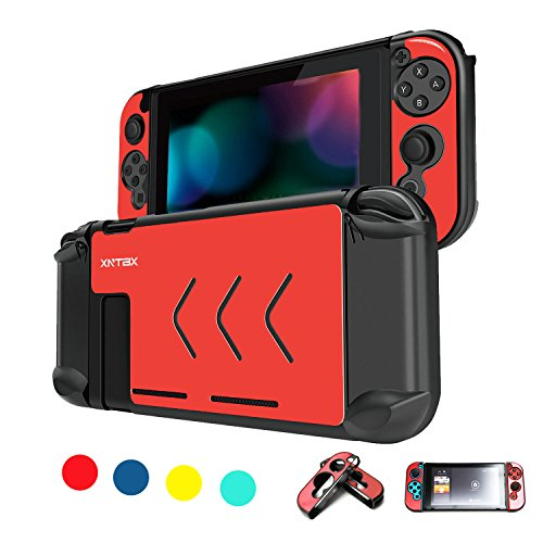 Protective Case Compatible with Nintendo Switch - Anti-Scratch Dustproof Hard Cover Shells for Nintendo Switch Console and Joy-Con Controller NS (Red)