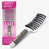 Brosse à cheveux Araignée | 50% Poils en nylon pour masser le cuir chevelu et démêler les cheveux, 50% en poils de sanglier pour stimuler les huiles naturelles du cuir chevelu 25X8X4cm. BARBER TOOLS