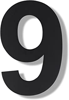 Mellewell Modern Floating House Numbers, Super Large 12 Inch, Black Finish, Stainless Steel 18-8, Number 9 Nine