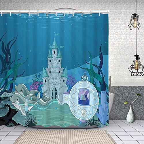Duschvorhang,Märchen Meerjungfrau Schloss mit Delfinen Moos Fisch Sonnenstrahlen Kunstdruck,Enthält 12 Duschvorhanghaken waschbar,Wasserdicht Bad Vorhang für Badezimmer Badewanne 150X180cm