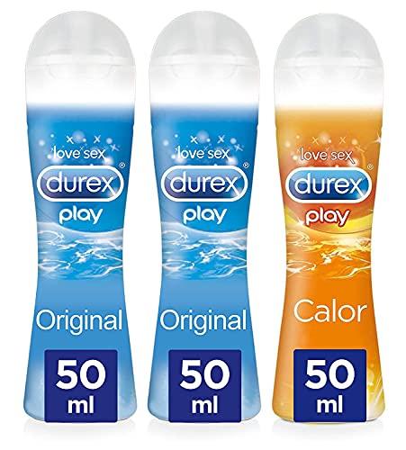 Durex Gel lubricante intimo a base de agua, sin fragancia | Original + Calor Pack 3 x 50 ml