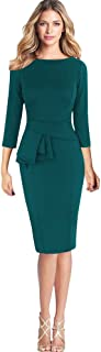 Women's Working Dresses,NEWONESUN Ladies Elegant Frill Peplum 3/4 Gown Sleeve Work Business Party Sheath Mini Pencil Dresses