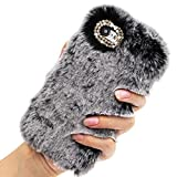Rhinestone Fluffy Rabbit Fur Case for OnePlus Nord N10 5G, Girlyard Cute New Bling Diamond Handmade Furry Winter Warm Fashion Faux Bunny Hair Plush Soft Phone Cover for Women Girls - Gray