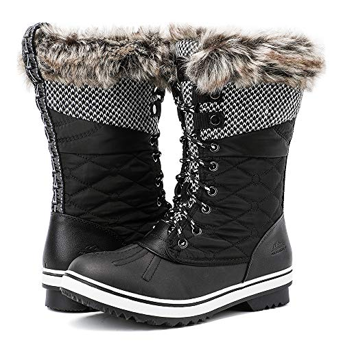 ALEADER Winter Boots for Women, Warm Snow Boots Outdoor Shoes Black 6.5 B(M) US