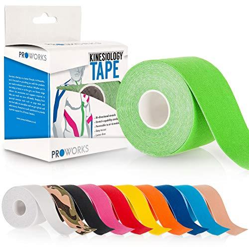 Proworks Kinesiologie Tape [5cm x 5m Rollenlänge] Tape für Muskeln und Gelenke [Wasserfest] für Training, Physiotherapie und Schmerztherapie Grün