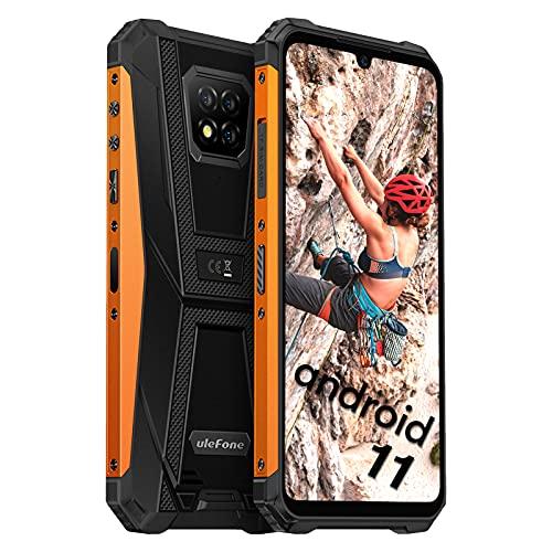 Ulefone Armor 8 Pro, Android 11 Telephone Portable Débloqué, 128Go + 6Go, 5580mAh, Telephone Pas Cher, Helio P60 Octa-Core, 16MP Arrière Caméra, FHD 6,1 Pouces, Smartphone Incassable 4G, NFC Type-C