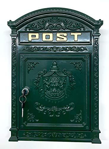 Briefkasten Englischer Postkasten zur Wandmontage grün Nostalgie Antik Stil aus Aluguss Standarformat für Brife bis Großbriefe
