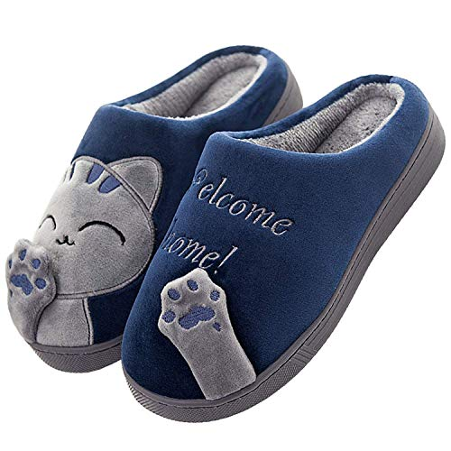JIANKE Inverno Pantofole Donna Uomo Caldo Morbido Scarpe da Casa Peluche Gatto Ciabatte Blu 44/45 EU