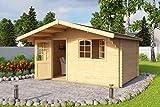 Lasita Maja Gartenhaus Aktion 4 mit Einzeltür und Doppelfenster I Wandstärke 44 mm