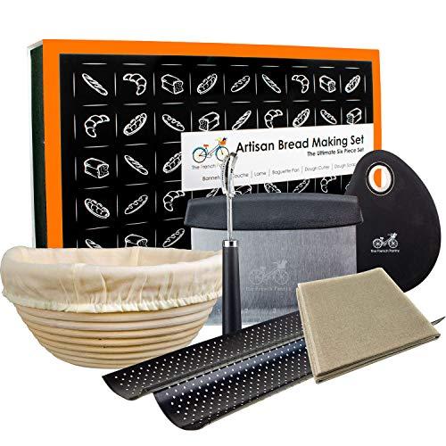 Bäckerbrot-Backset –6-teilige – Garkörbchen/Banneton Brotform | Französisches Bäckerleinen | Bäckermesser | Baguette Backform | Teigschneider | Teigschaber