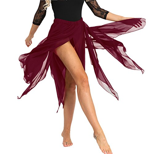 Alvivi 13 Panel Chiffon Fairy Belly Dance Asymmetric Side Split Skirt for Women Halloween Costume Wine Red One Size