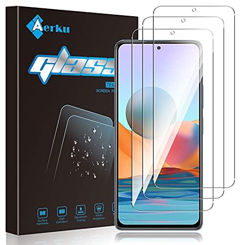 Aerku Schutzfolie Kompatibel mit Xiaomi Redmi Note 10 Pro 5G Panzerglas,[9H-Festigkeit] [Anti-Bläschen] [Anti-Kratzen] HD klar Folie Ultra Glatte Bildschirmschutz Gehärtetes Glas [3 Stück]