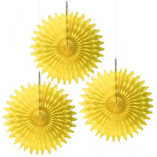 "Floral Reef Set of 3-16"" YELLOW Paper Tissue Rosettes Fan Medallions Hanging Home Decoration Wedding Party (3 Pack)"