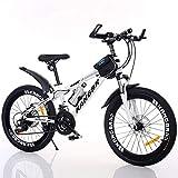 Chnzyr Bicicleta de montaña con suspensión completa, frenos de disco de acero al carbono de doble disco, 21 velocidades, con bolsa y cadena, color blanco, 66 cm