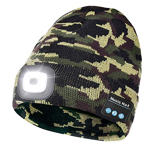 Bluetooth Beanie Hat with Light, USB Rechargeable LED Beanie with Headphone, Built-in Stereo Speaker And Mic, Unique Tech Gifts For Men/Women, Winter Warm Knit Cap-Camogreen