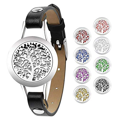 Flongo Tribal Unique Tree of Life Locket Leather Cuff Bracelet for Women Girls, Essential Oil Diffuser Adjustable Bangle Aromatherapy Relieve Anxiety Jewelry for Christmas Valentine's Anniversary