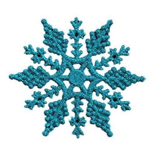 Robelli Pack of 6 Glitter Snowflake Christmas Tree Hanging Decorations (Blue)