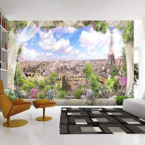 RTYUIHN Carta da parati fotografica Finestra 3D Parigi Torre Eiffel Città Paesaggio murale Carta da parati per soggiorno Sfondo Art Deco