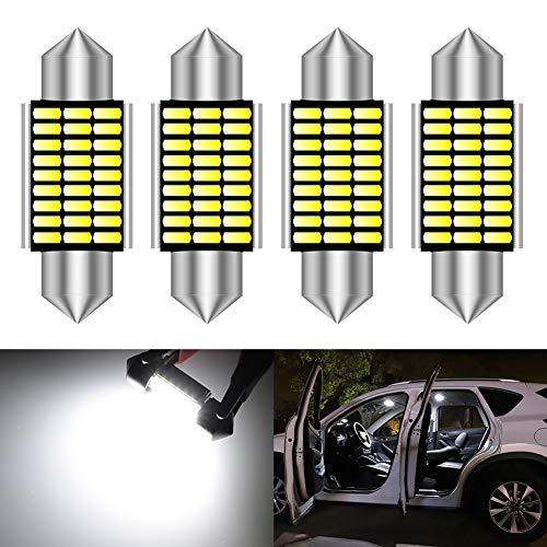 KATUR 36mm Festoon C5W LED Ampoules 6000K lumière Blanche Canbus sans Erreur pour 6418 6461 6486X éclairage de Porte de Plaque d'immatriculation intérieure (4pcs, Blanc)