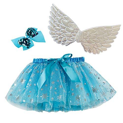 Happy Cherry Falda Tul de Lentejuelas Bebé Niñas Vestido Tutu Corto con Lazo Falda Layered Disfraz Multicolor con ala Plata