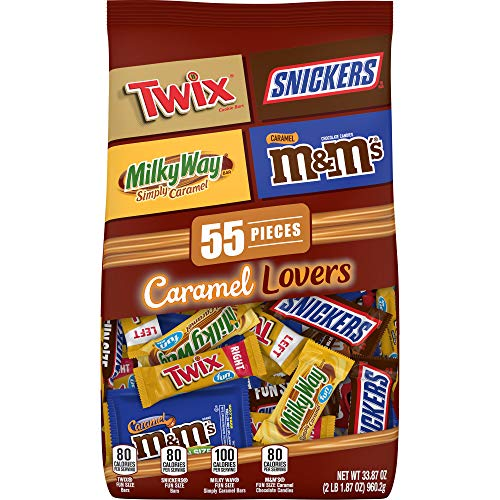 MARS Chocolate Caramel Lovers (M&M'S, SNICKERS, TWIX & MILKY WAY) Fun Size Halloween Candy Bars Variety Mix 33.87-Ounce 55-Piece Bag