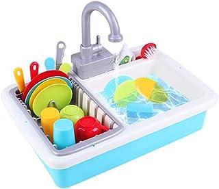 小さなプールセットのおもちゃ シミュレーションキッチンのシンクのおもちゃ 女の子は家のおもちゃ 子供のシミュレーションの食器のシンクのおもちゃ 3-7歳の知育玩具を再生 (Color : Blue, Size : 28*39*12cm)