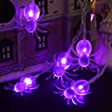 YUNLIGHTS Halloween Spider String Lights, Waterproof 11.5ft 30 LED Halloween String Lights with 8 Lighting Modes Battery Operated for Indoor Outdoor Party Yard Holiday Halloween Decoration (Purple)