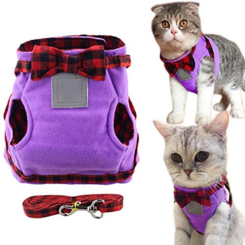 XYBB hondenriem harness voor kleine honden en vesten Leash Set Plaid Bow Tie Cat Collar apparatuur Via Chest Strap Dog Jacket, XL, Paars
