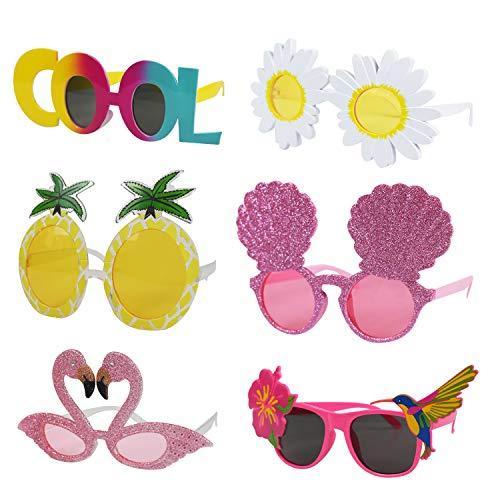 6Pcs Luau Party Sunglasses – Hawaiian Party Decorations- Funny Hawaiian Glasses for Kids & Adults- Tropical Theme Summer…