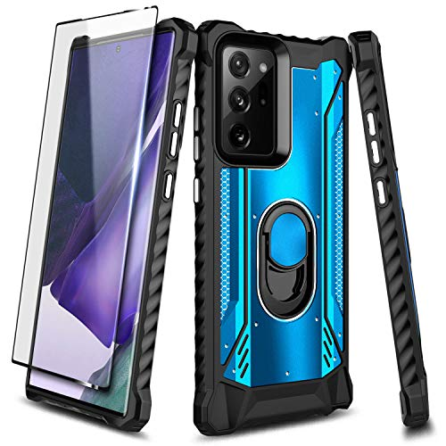 E-Began Case for Samsung Galaxy Note 20 Ultra with Screen Protector (Soft 3D Curved Full Coverage), Magnetic Metal Built-in Ring Holder Stand, Full-Body Protective Shockproof Military Case -Blue