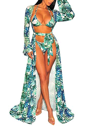 Kisscynest Women's Long Sleeve Swimsuit Cover Ups Tie Front Bathing Suit Beach Coverups Swimwear Leaf Print XL