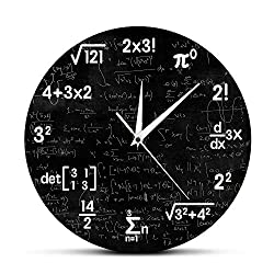 The Geeky Days Math Equations and Notations Mathematics Chalkboard Geek Battery Operated Wall Clock Silent Non-Ticking Quartz Clock Educational Gifts for Kids Teachers School Classroom Decor,12inches