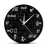 The Geeky Days Math Equations and Notations Mathematics Chalkboard Geek Battery Operated Wall Clock Silent Non-Ticking Quartz Clock Educational Gifts for Kids Teachers School Classroom Decor ,12inches