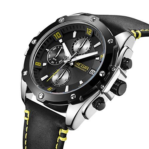 MEGIR Big Face - Reloj deportivo para hombre, correa de piel, analógico, militar, cronógrafo, con caja de regalo