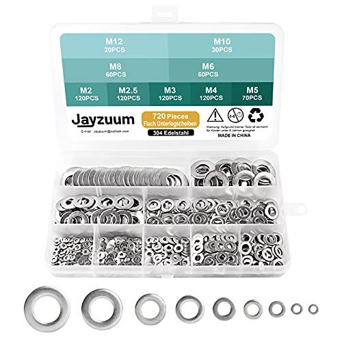 Jayzuum Flach Unterlegscheiben, 720 Stück 9 Größen A2-70 Edelstahl Beilagscheiben Flach und Sicherungsscheiben Sortiment Set (M2 M2.5 M3 M4 M5 M6 M8 M10 M12)