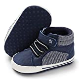 BENHERO Baby Girls Boys Canvas Shoes Toddler Infant First Walker Soft Sole High-Top Ankle Sneakers Newborn Crib Shoes (6-12 Months M US Infant, E-Navy